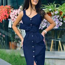 Women's Long Denim Dress With Belt Vintage Button Front Slim Ladies Office Dress