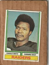 New listing 1974 Topps Football Set Break Charlie Smith Oakland Raiders #523 NICE