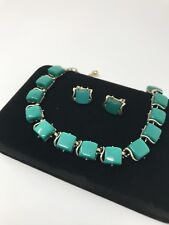 """Beautiful Coro Necklace & Clip on Earrings Lucite Green on Gold tone Approx 18"""""""
