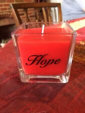 Brand New Square 'Hope' glass candle, modern design, floral scented red wax