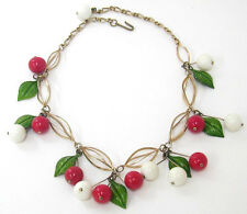 Vintage Goldtone  Necklace Red & White Cherries Fruit Metal Leaves