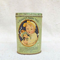 1930s Vintage Colgate Baby Talc Boric Powder Advertising Litho Tin Box USA