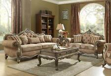 Traditional Vintage Oak Living Room Furniture Set Brown Fabric Sofa Loveseat RA6
