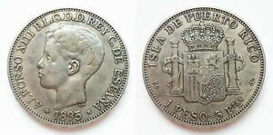 1895 Alfonso XIII Puerto Rico PGV 1 PESO (Cal. 82) 27 fleur-de-lis