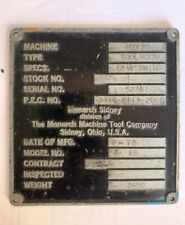 Monarch Ee Lathe Part: Ee Lathe Name Plate 10 x 20