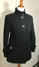 DKNY Black Wool Blend Collared Button Down Long Sleeve Coat Size 4