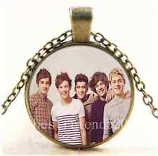 Vintage One Direction Photo Cabochon Glass Bronze Chain Pendant Necklace