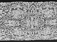 """Antique Victorian Unbelievable Alencon Mesh Bobbin Tape Lace Runner 64"""" x 19"""""""