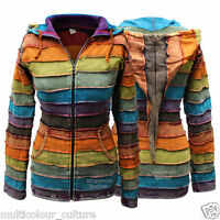 Acidwash Women Pixie Hooded Rainbow Print Jacket,Boho Hippy style,Colorful Outer