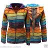 Acidwash Women Pixie Hooded Rainbow Print Jacket,Boho Hippy style,Colorful Outer