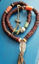Antique Tibetan Kapala Mala rare Red Coral Ancient turquoise crystal 1line agate