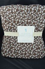 Pottery Barn Kids Jacqueline Floral Duvet Cover Twin Brown w/ White Flowers #271