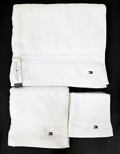 Tommy Hilfiger 3 Pc Set Classic Solid Snow White 1 Bath,1 Hand Towel+1 Washcloth