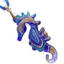 Silver Foil Blue Sea Horse Lampwork Glass Murano Bead Pendant Ribbon Necklace