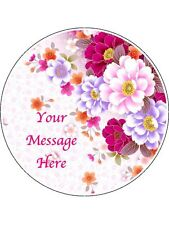 """Novelty Personalised Bright Floral (A) 7.5"""" Edible Wafer Paper Cake Topper"""