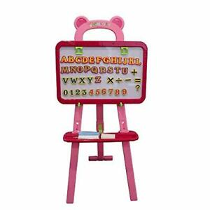 Art Easel for Kids 3 in 1 Dual-Sided, Magnetic Dry Erase Board and Pink