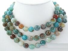 50'' 8mm Faceted Round Blue Polychrome Agate Gemstone Jewelry Necklace