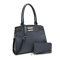 Women Satchel Faux Leather Handbag Shoulder Large Tote Bag Purse With Wallet set