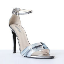 GIORGIO ARMANI metallic leather ankle strap sandals heels EU37 US7 UK4