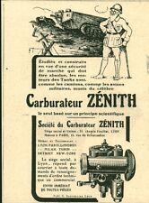 Publicité ancienne Tanks carburateur Zenith 1918 issue de magazine