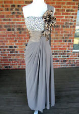 VINTAGE SEQUIN BEADED RUCHED ONE SHOULDER BROWN/CHARCOAL GOWN/DRESS SIZE SMALL