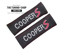 "2x Seat Belt Covers Pads Black Leather ""cooper S "" Red Embroidery for Mini"