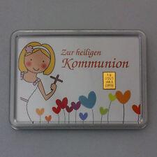 1 Gramm Gold 999,9 + Zertifikat ► 1g Feingoldbarren ► Heilige Kommunion Mädchen