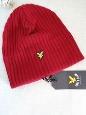 BNWT Lyle & Scott Ruby Red  Wool Blend Rib Knit Beanie Hat