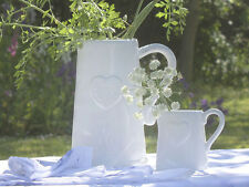 ANTIQUE VINTAGE SHABBY CHIC WHITE FRENCH HEART LARGE JUG/VASE/PITCHER WEDDING