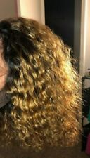 (emma1) curly ombre blonde 1/27 Human hair pixie thick afro curly kinky bob wig