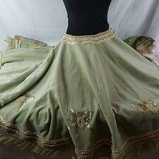 "Anthropologie Sage Green Crushed Velvet 60"" Christmas Tree Skirt Ribbons Pearls"