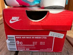 NIKE GIRLS KIDS AIR MAX 90 MESH Trainers Shoes UK size 8.5 EU 26