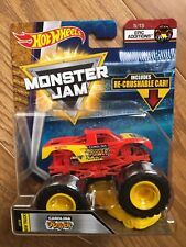 2018 HOT WHEELS MONSTER JAM CAROLINA CRUSHER TRUCK with RE-CRUSHABLE CAR