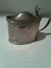 ANTIQUE SILVER OVAL MUSTARD POT CHESTER 1902