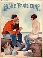 1925 La Vie Parisienne Fisherman and Mermaid France Travel Advertisement Print