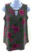 Coco's Clozet Top Womens Size Small Black White Checked and Floral Sleeveless