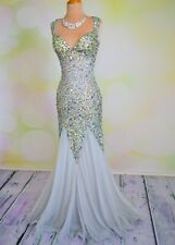 Sexy Silver Jasz Couture Pageant Prom Long Evening Sheer Formal Gown Dress 2