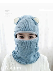 Winter Kids Boys Girls Knitted Balaclava Face Cover Outdoor Ski Mask Hat Scarf