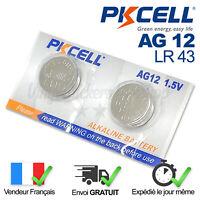 2 Piles Bouton Alcaline Pkcell AG12, LR43, G12, 186, GP86A, 386, SR43 W