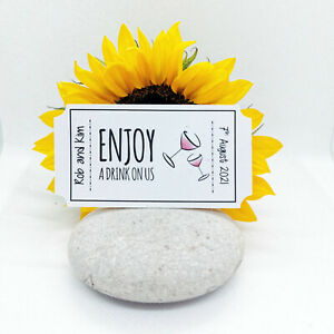 """Personalised Big Ticket Style """"Free Drink"""" Tokens For Weddings! 3 Designs"""