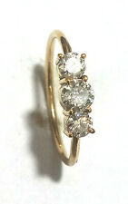 Gorgeous Diamond Ring 10K Yellow Gold Ring Round Diamond Ring Handmade Ring