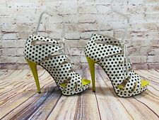 MADONNA Truth or Dare retro polka dot peep toe stilettos 8.5 MSRP $129