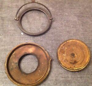 Antique Clock Case Spare Parts Bezel Back Door Unusual Carriage Handle