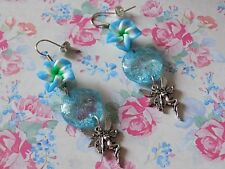 Blue Plumeria Flower Beads Tibetan Silver Fairy Silver Plated Hook Long Earrings