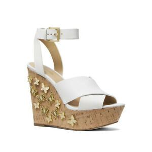 Michael Kors Lacey Gold Butterfly White Leather Strappy Platform Wedges 10 NIB