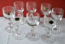 Set of 8 Bohemia Crystal Faceted Ball Stem Liqueur/Sherry Glasses See 12 Picture
