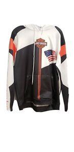 Harley Davidson Black White & Orange  Cotton Sweatshirt Size XLPre-owned