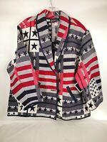 New Women Identity Cotton Red Jacket Coat Size 22/24W Star Flag 100% Cotton
