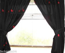 "Mariposa Rojo Negro Baño Cortinas W80 x L 42"" - W203 x 107cm"