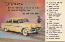 Ford 130 HP V8 or 115HP Six 1954 USA issued Postcard